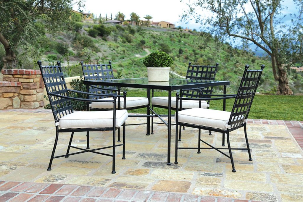 5 piece provence wrought iron dining set sling patio furniture