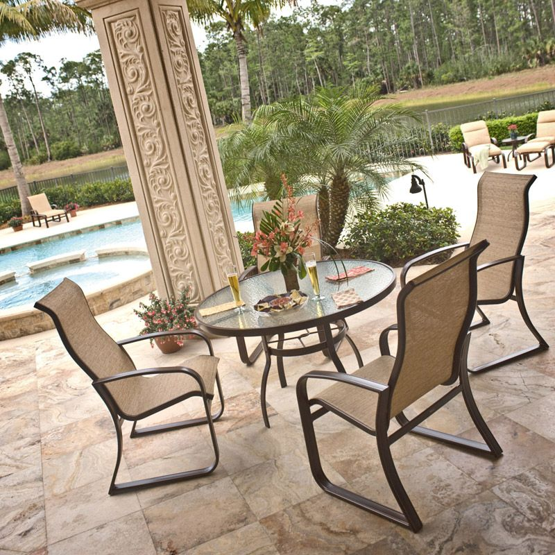 5 piece cayman isle dining set sling patio furniture