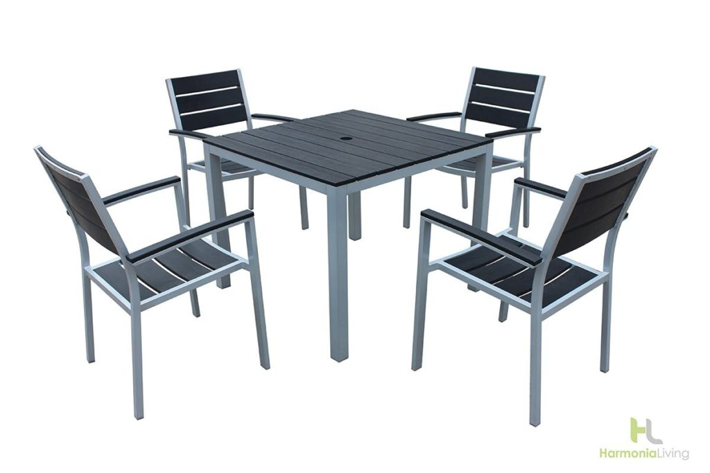 5 piece brasserie arm dining set recycled plastic patio furniture