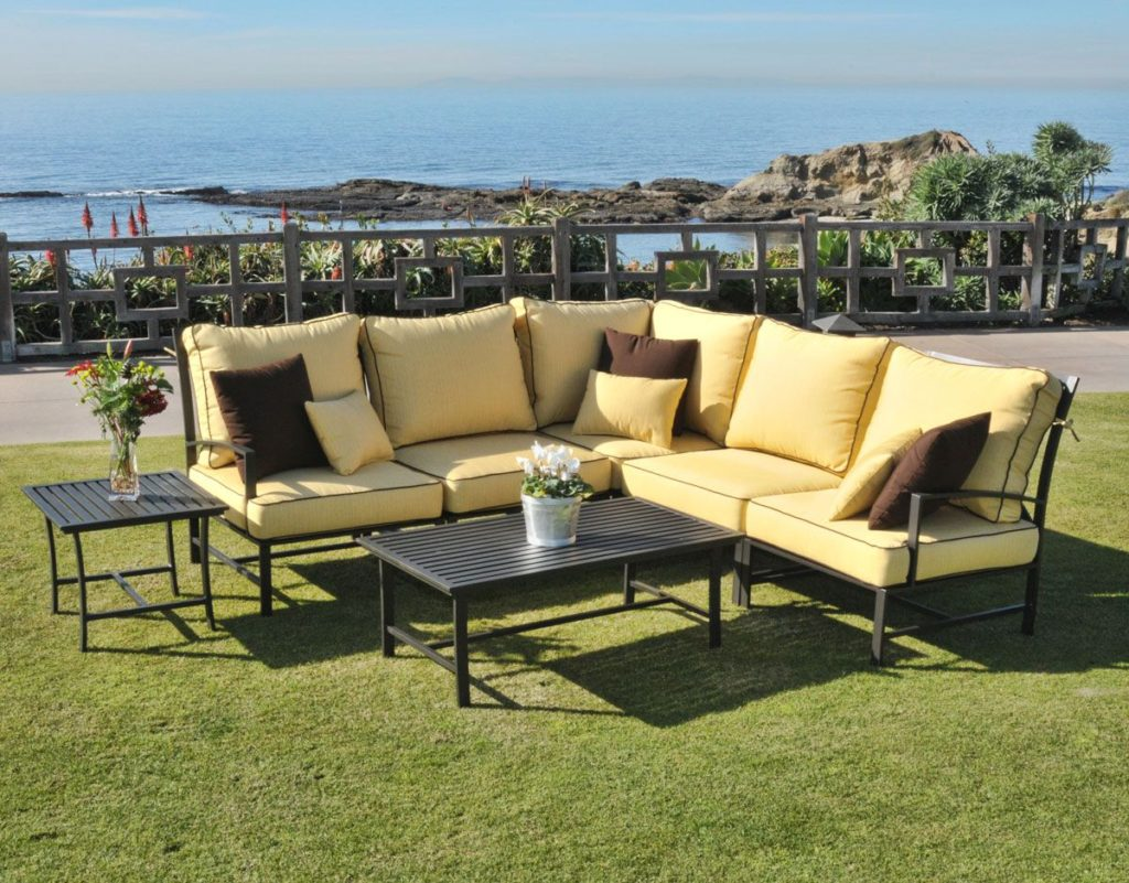 7 piece san michelle sectional cast aluminum sofa set