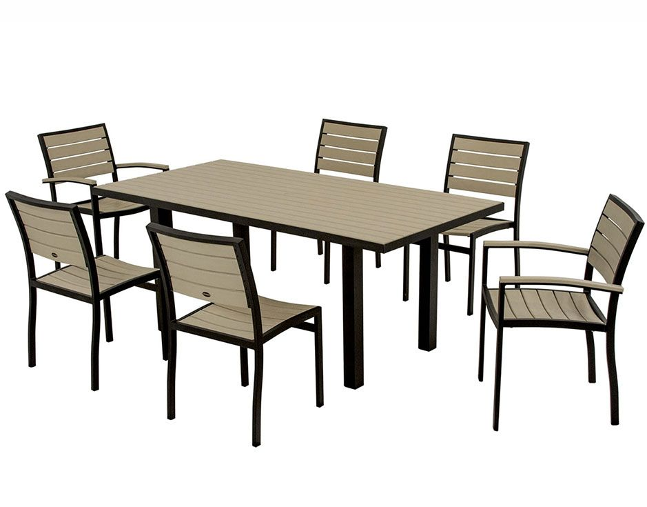 7 piece euro dining set recycled plastic patio furniture in beige and black