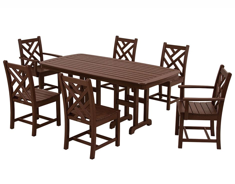 7 piece chippendale dining set recycled plastic patio furniture in brown
