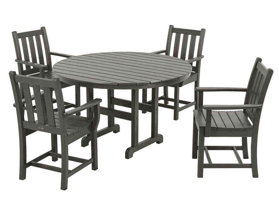5 Piece Traditional Garden Dining Set Recycled Plastic Patio Furniture In Gray
