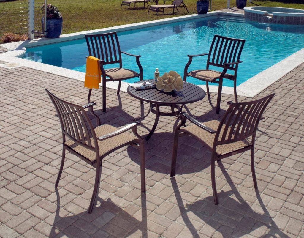 5 piece island breeze gather group stackable patio outdoor furniture
