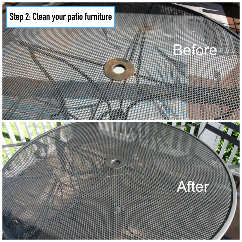 step 2 clean your patio furniture