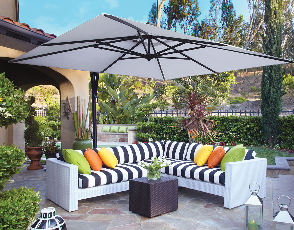 umbrellas olefin cantilever ft large octagonal cotta island in patio santiago p terra umbrella