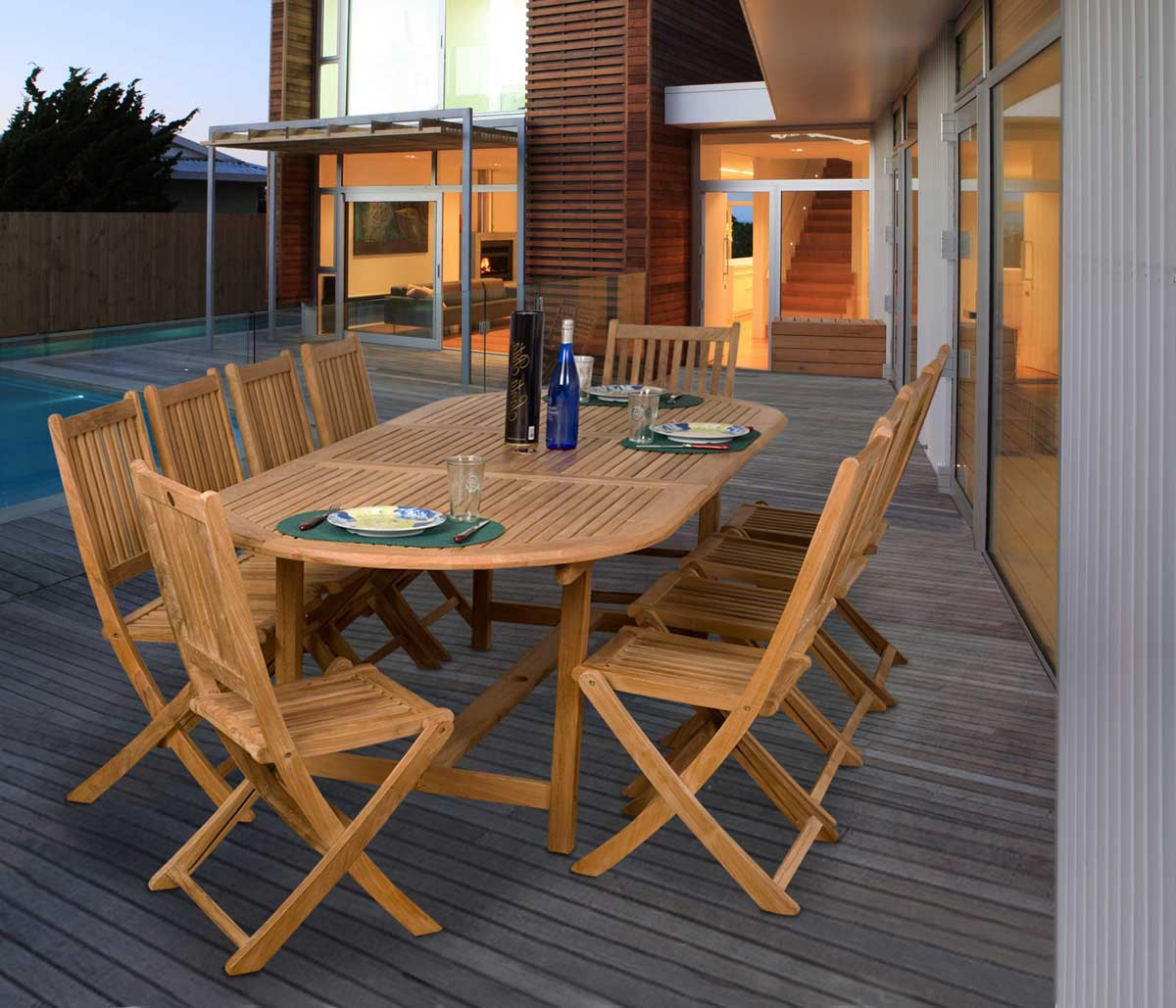 Bergen Teak Extendable Dining Set by International Home