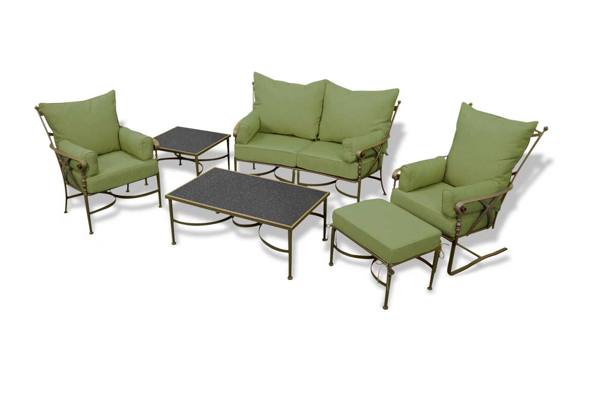 wrought iron sofa sets like this one are a great addition to any backyard design