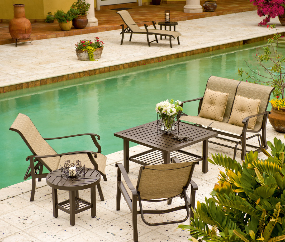 the addison 4pc aluminum sling patio set