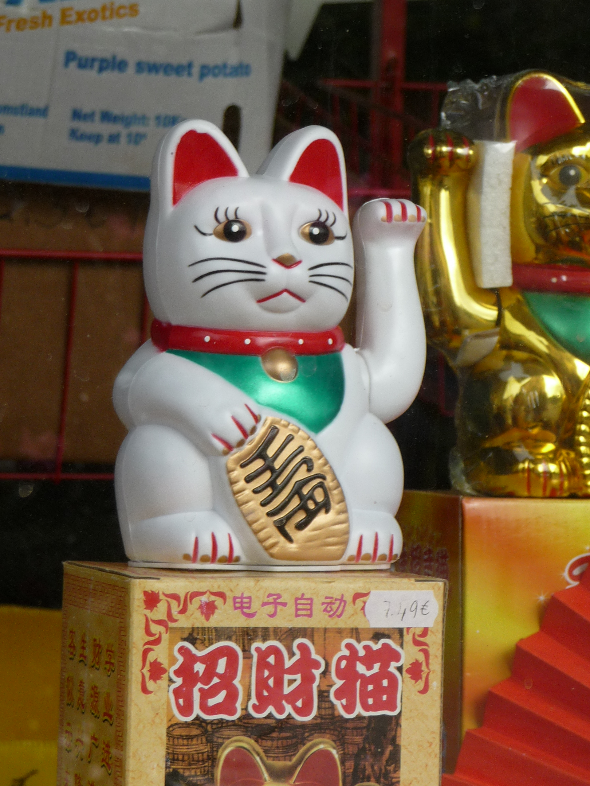 maneki neko cat figure statue doll art design asian japanese culture decor cute