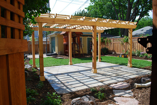 pergola outdoor patio backyard wood concrete garden furniture - What's The Difference Between A Pergola And An Arbor?