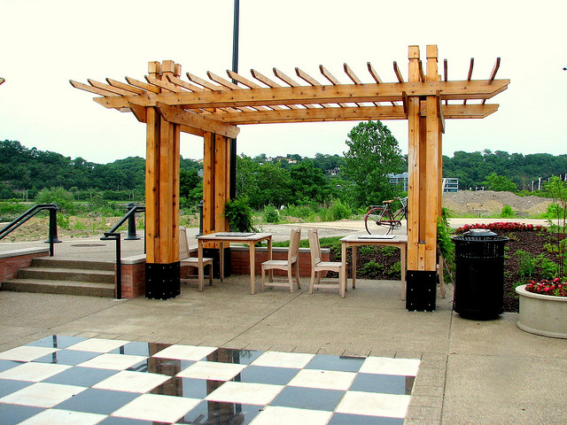 pergola dining chess set patio furniture chess park garden wooden four post - What's The Difference Between A Pergola And An Arbor?