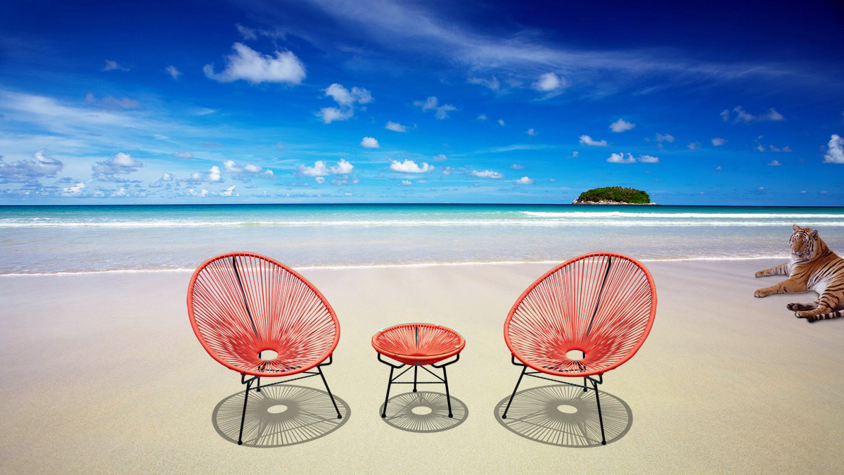 Furniture line the acapulco chair and chat set patio productions - Orange Acapulco Chair Table