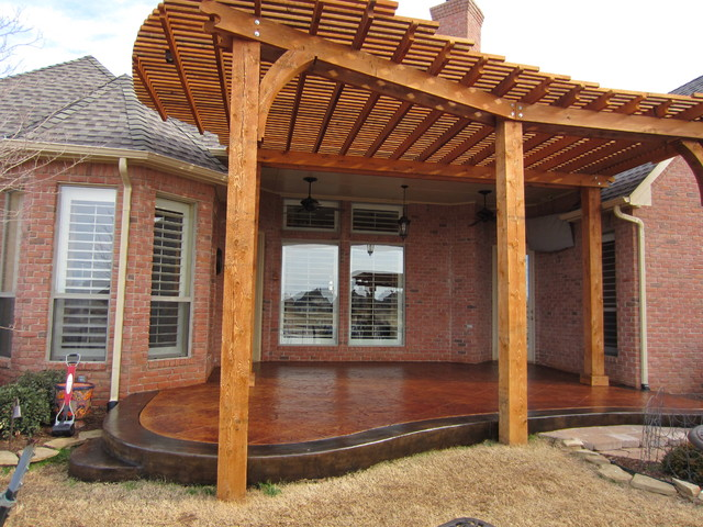 Acid Stained Patio with an overhanging Pergola