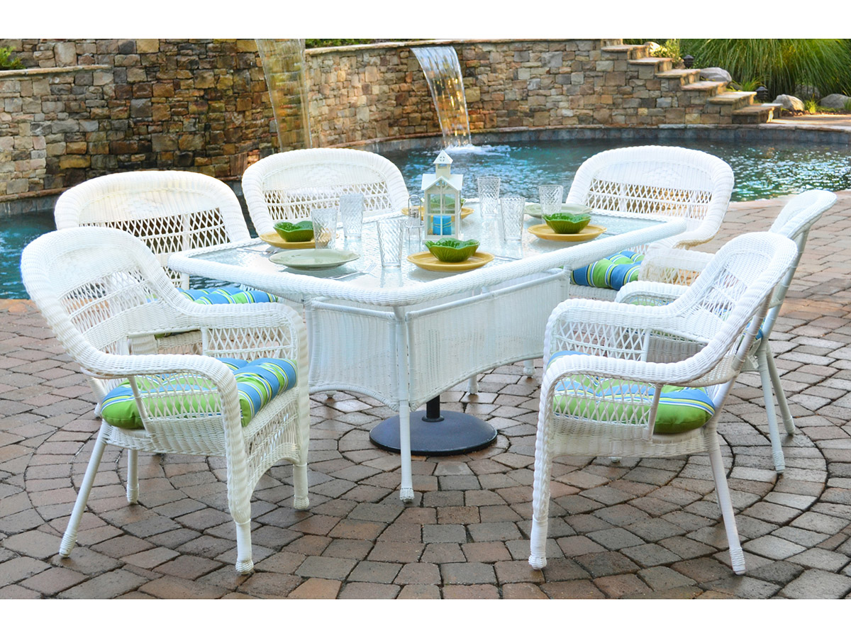Portside 7 Piece Dining Set Outdoor Patio Furniture Clic Design Wicker Tortuga Traditional Polyester Durable