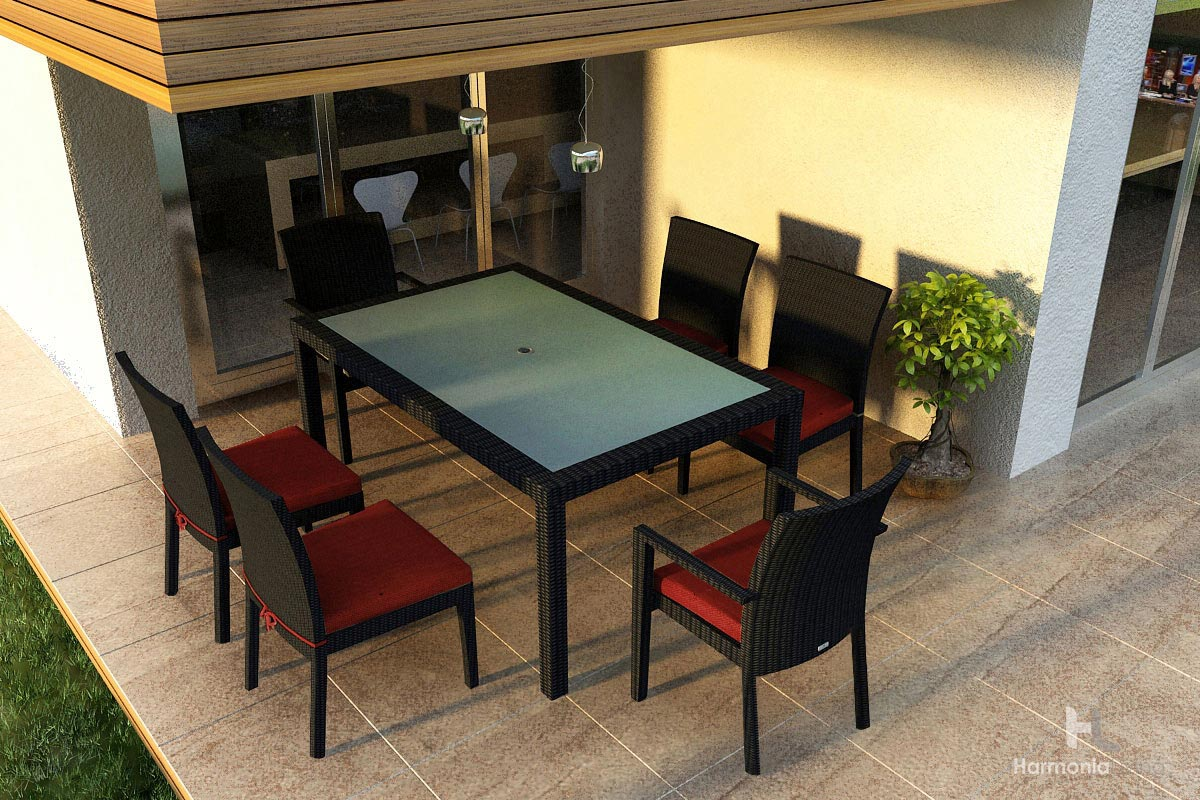 Comcheap Modern Outdoor Furniture : piece dining set harmonia living outdoor patio furniture modern ...