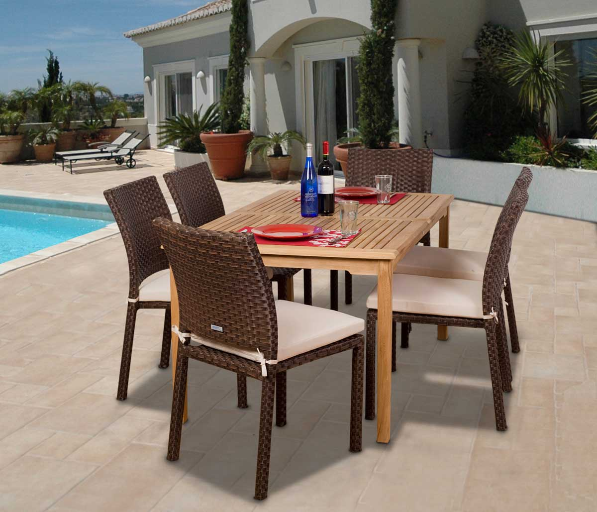 Luxemburg 7 Piece Teak Wicker Dining Set Outdoor Patio Classic Design  Modern Design Style Synthetic Durable Part 86
