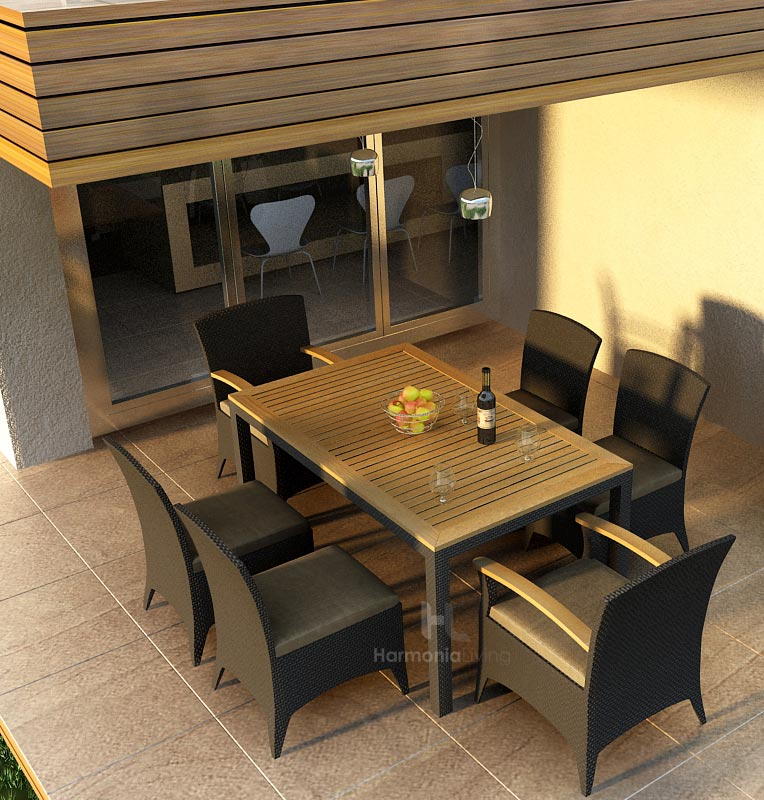 Arbor Wicker and Teak Dining Set from Harmonia Living