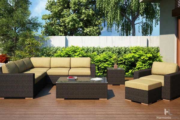 Brown Wicker Outdoor Sectional with Tan Cushions