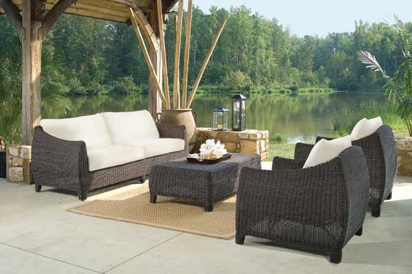 Bay Harbor Modern Espresso Wicker Sofa Set