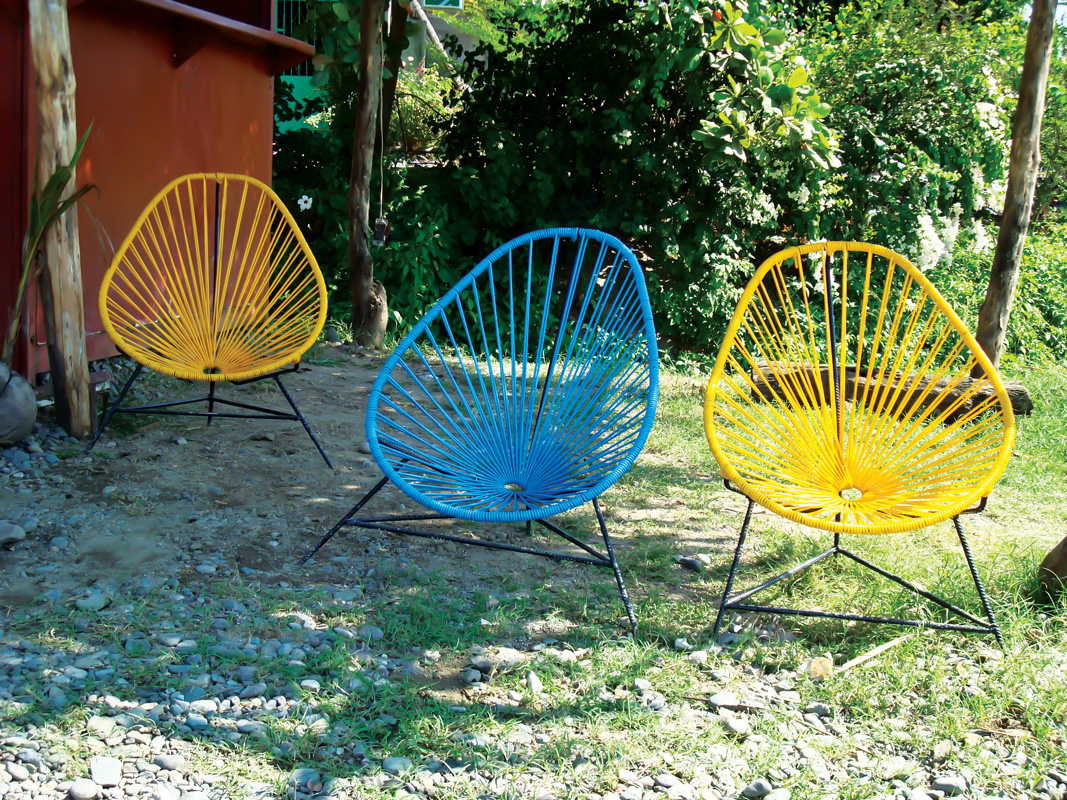 Blue And Yellow Mexican Acapulco Chairs Outdoors