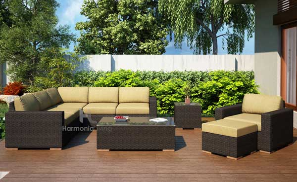 the arden sectional set features a beautiful chestnut finish
