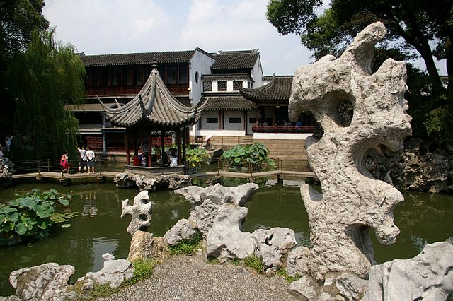 suzhou lion grove garden chinese china famous water rock design outdoor