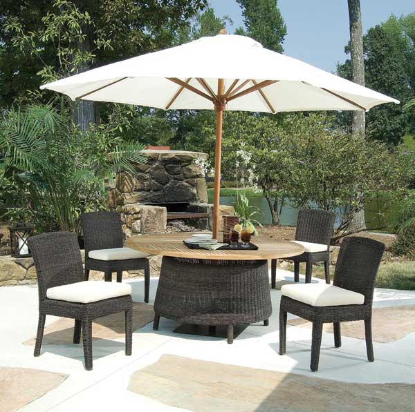 Wine and Dine on these Modish Teak and Wicker Dining Sets