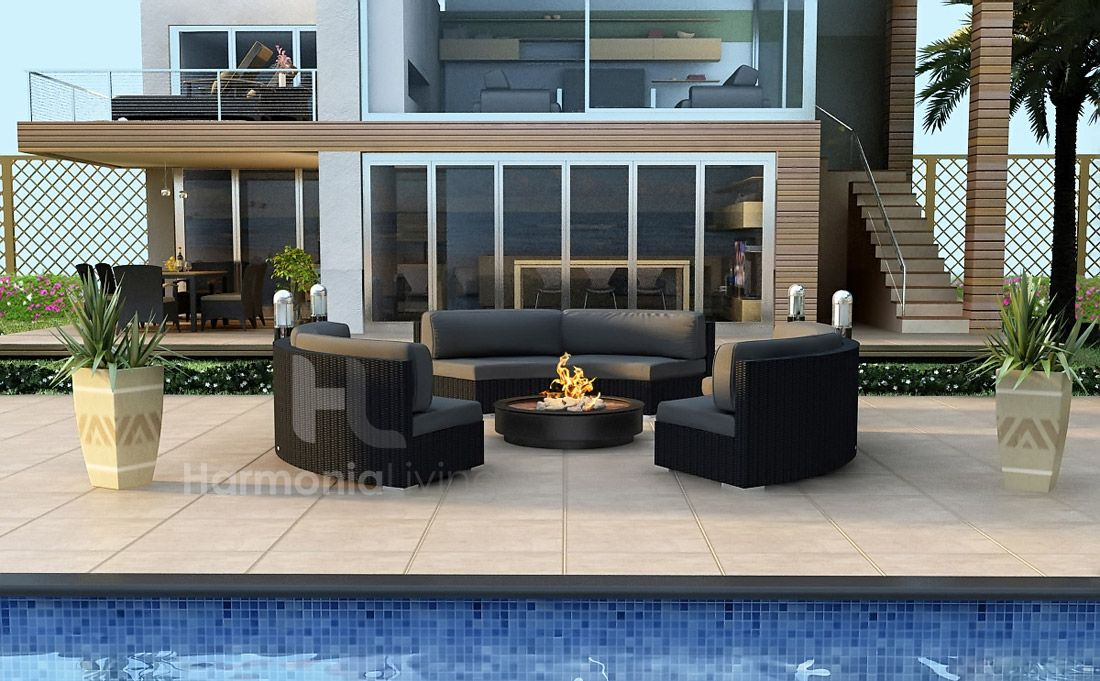 chic circular wicker outdoor furniture set from harmonia living