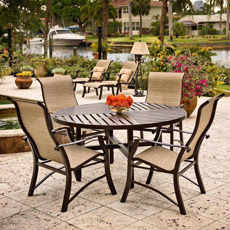 5 Pc Cortland Sling Dining Set with Slatboard Top