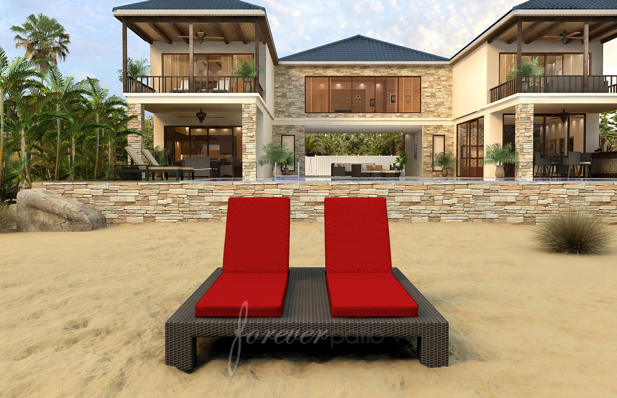Double lounge chair outdoor - Hampton Outdoor Wicker Double Chaise Lounge