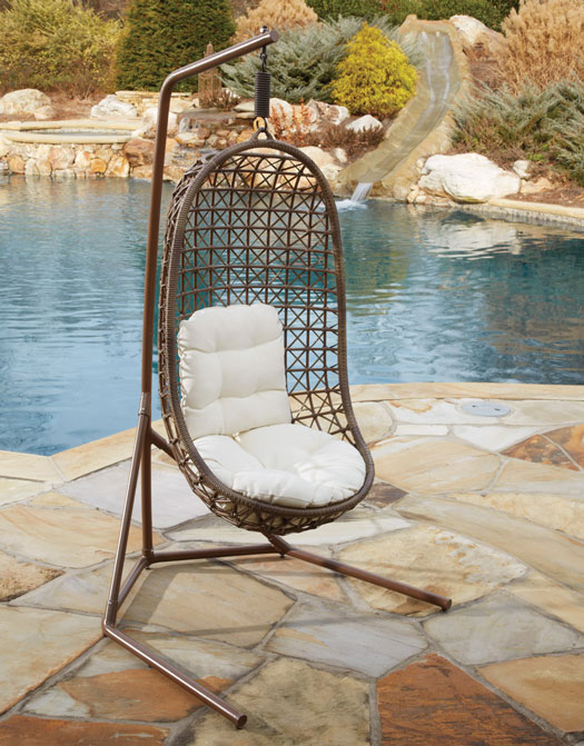 Island Cove Open Weave Wicker Hanging Chair