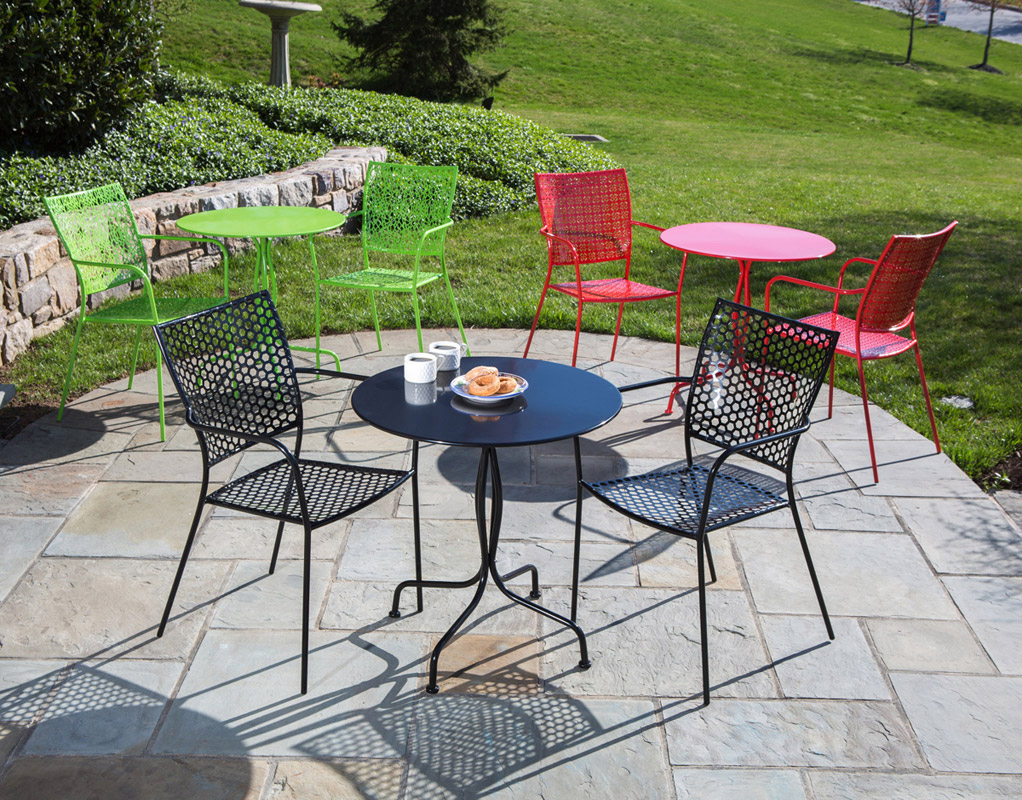3 piece celestine bistro set patio furniture dining outdoor paver paved wrought iron black green red grass stone natural