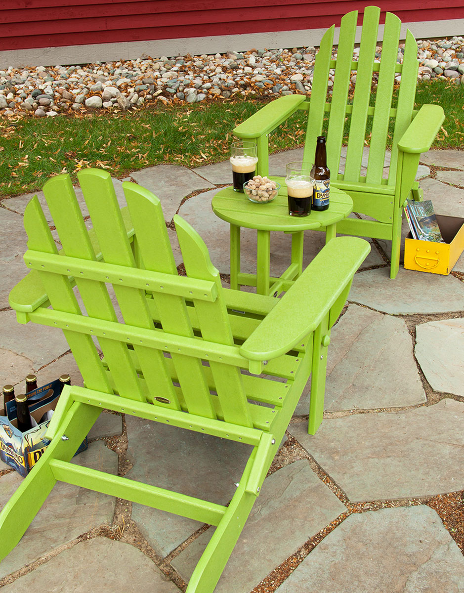3 piece classic adirondack chat set chair seating polywood lime green plastic paver patio beer design ideas inspiration