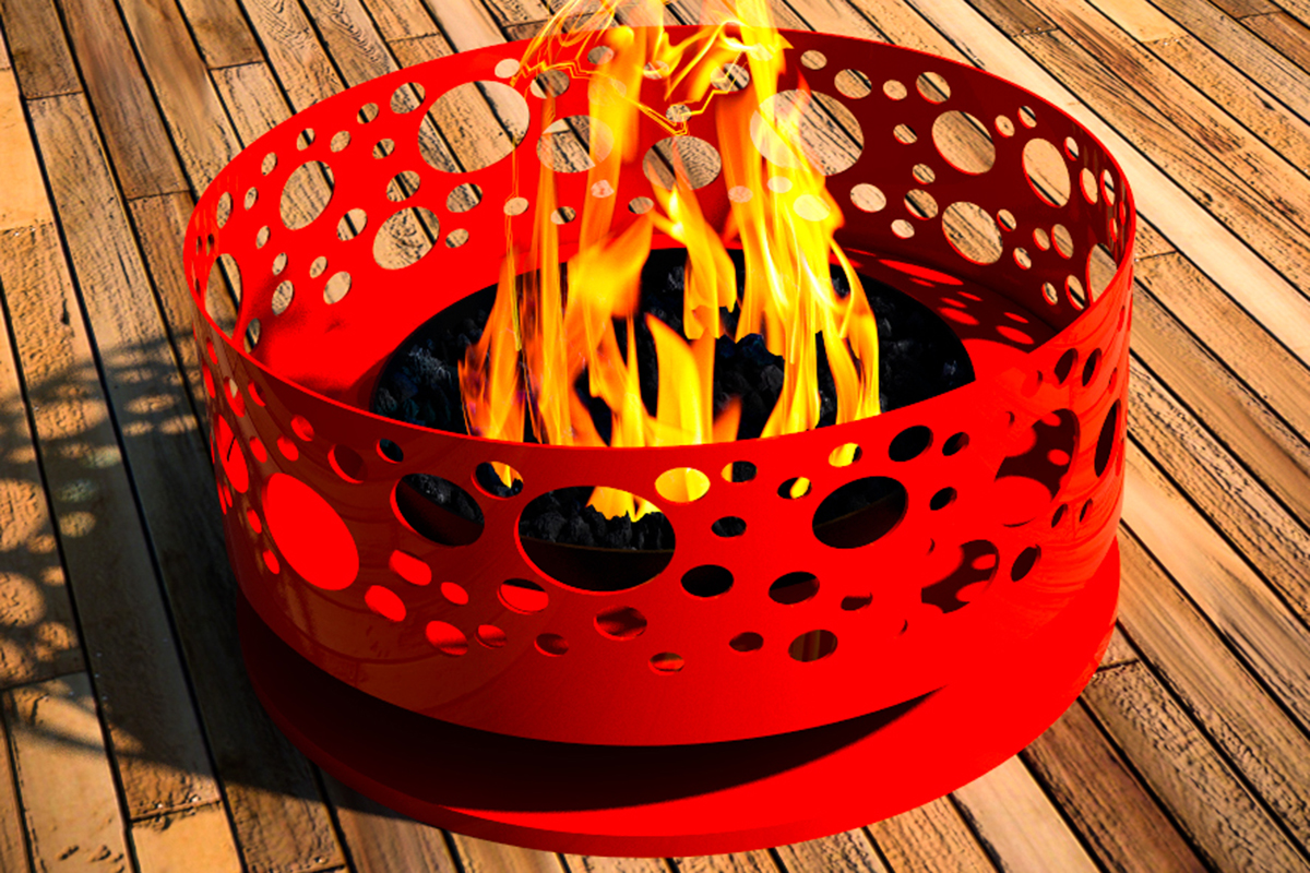 outdoor patio fire pit wood burning modfire solfire abstract artistic artful retro bar tips ideas how to warm red
