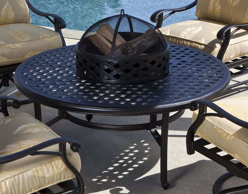 The Laurite firepit from Patio Productions is a great addition to any relaxing poolside.