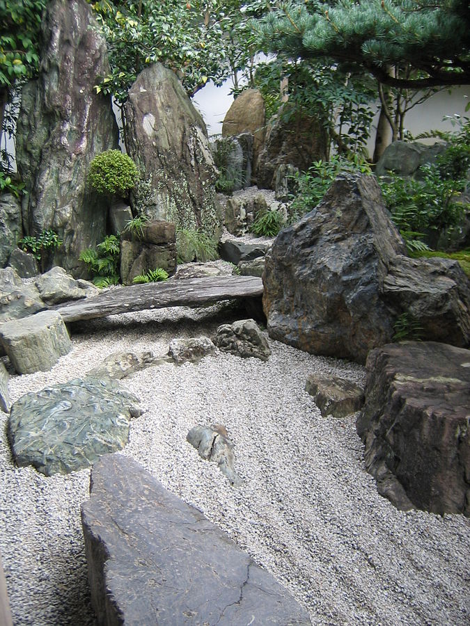 japanese rock garden zen design outdoor river waterfall ocean dry sand gravel daisen