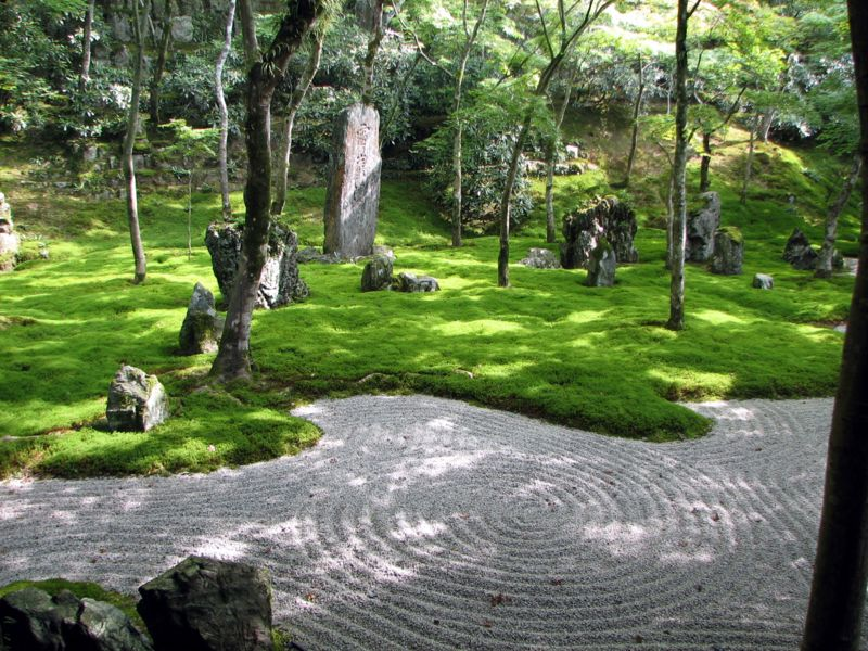 japanese rock garden zen design outdoor tree sand gravel raked lines