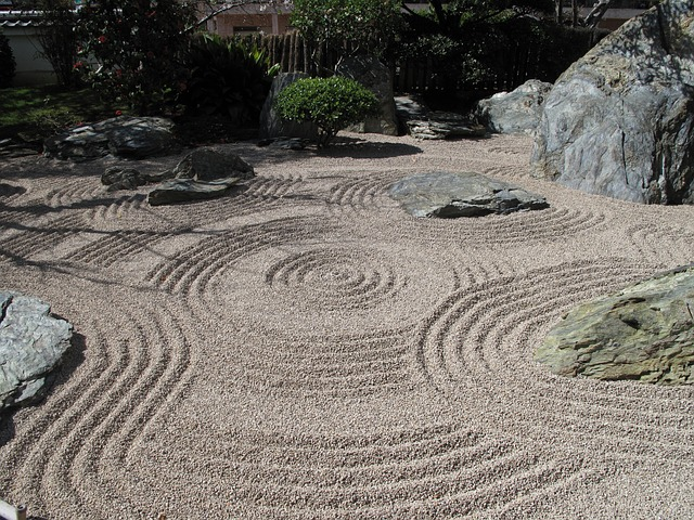 japanese rock garden zen sand gravel ripples raked design outdoor