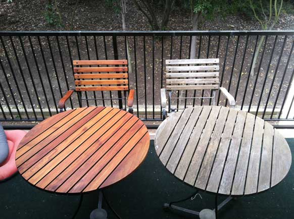 Stained Teak Table Before and After. Teak Furniture Care and Maintenance