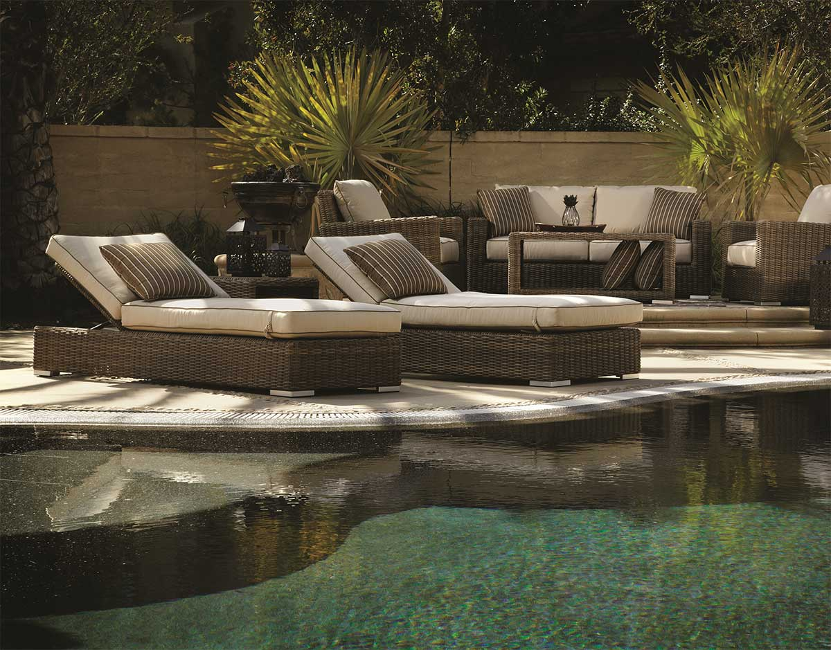 The beautiful Coronado wicker chaise lounge set from Sunset West - Featured Brand: Sunset West - Patio Productions
