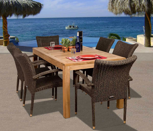 Teak and Wicker Dining Sets - Teak And Wicker Outdoor Furniture: A Lasting Combination