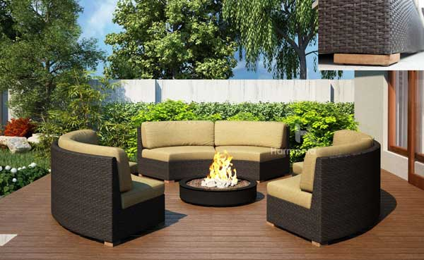 Charmant Teak And Wicker Modular Outdoor Furniture