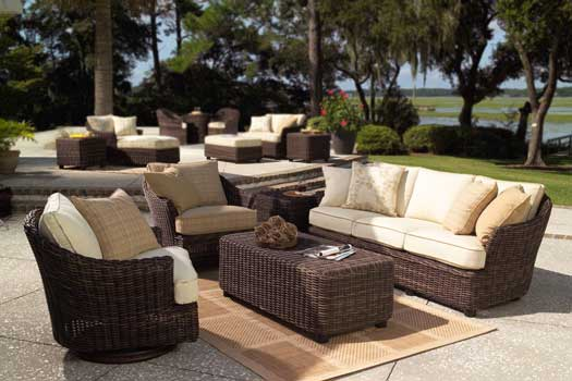 Thick All Weather Wicker on the Marin Sofa Set