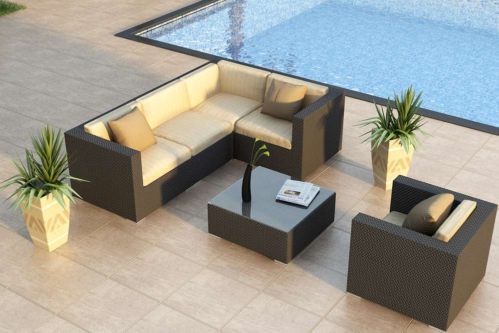 urbana deep seating wicker sectional set
