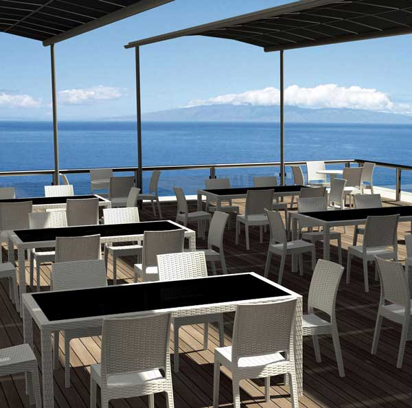 White Resin Wicker Outdoor Dining Set