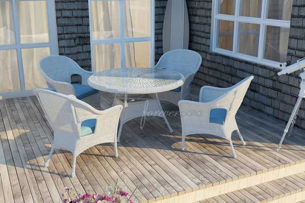 Rockport White Wicker Circular Dining Set. White Outdoor Wicker Furniture   20 Sets to Choose From