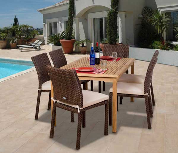 wine and dine on these modish teak and wicker dining sets. Black Bedroom Furniture Sets. Home Design Ideas