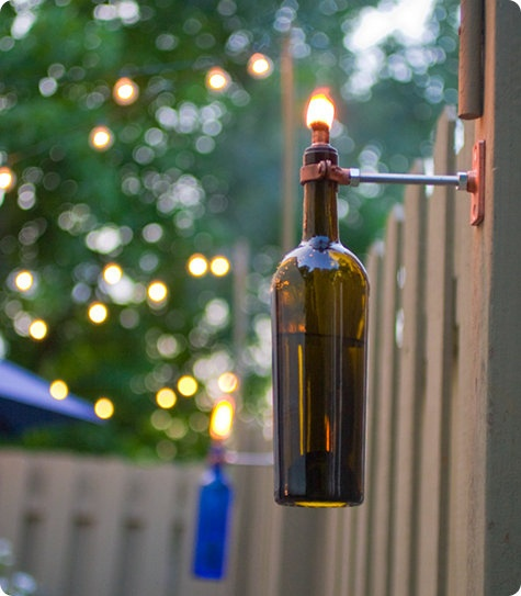 wine bottle patio lighting - Patio Light Ideas